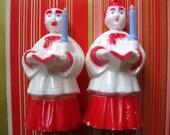 Vintage Rare Christmas Ornaments, Choir Boys with Blue Plastic Candles