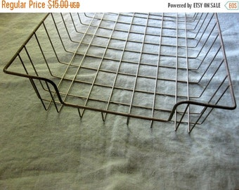 HOLIDAY SALE - Vintage Office Wire Basket, Display, Store Vintage Papers, Books, Kitchen Decor