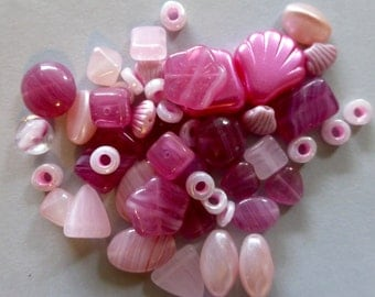 Vintage and Newer Mix of Assorted Pink Tone Glass Beads for Earrings (20 pair) OOAK  (PP)