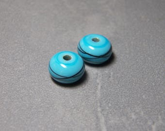 Vintage Opaque Sky Blue with Black Swirls Smooth Rondelle Glass Beads  - 13x8mm (2)