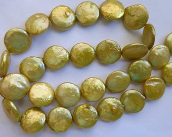 "Cultured Pear Green Flat Round Coin Pearls 15"" Strand  15mm"