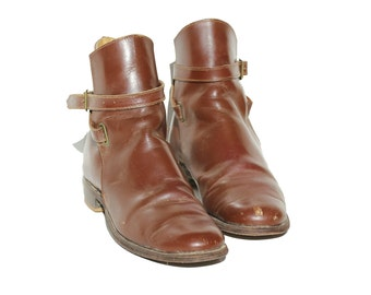 Vintage Seminole Brown Leather Riding Ankle Boots / size 7.5