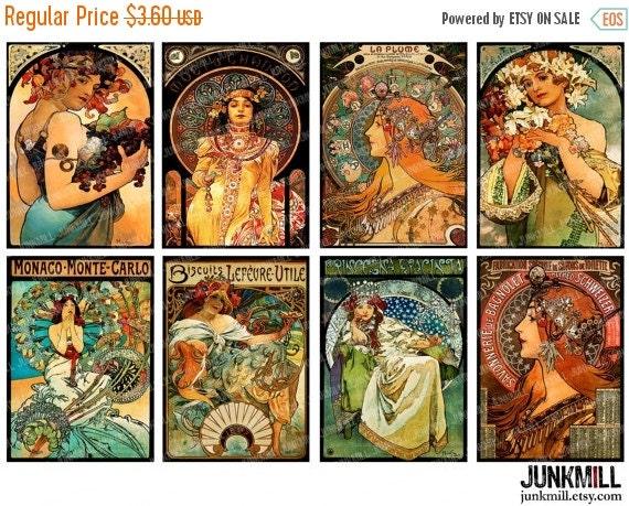 "55% OFF SALE MUCHA Masterpieces - Digital Printable Collage Sheet - 2.5"" x 3.5"" - Alphonse Mucha Art Nouveau Paintings, Atc Images, Digital"