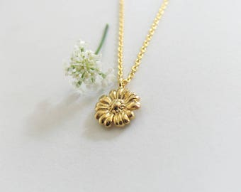 Delicate Flower Glossy Gold Necklace, Tiny Flower Necklace, Minimalist Charm Necklace, Girls Jewelry, Nature Inspired Necklace - Tamar Bar