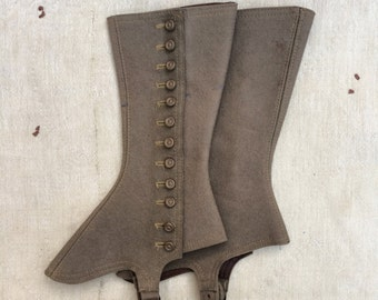 Victorian era olive green woolen gaiters or spats
