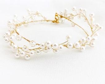 Pearl wedding bracelet, crystal beaded bracelet, pearl wedding bracelet, pearl bridal bracelet, pearl vine bracelet, gold bracelet