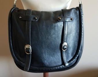 Georgous Vintage Black Leather Saddle Bag Satchel Messenger