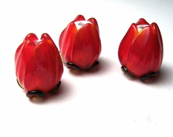 RED ROSES Art Glass Lampwork Flower Beads handmade jewelry supplies, Valentine's Day sra