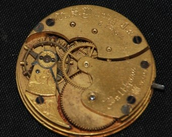 Vintage Antique Waltham Watch Pocket Watch Movement Porcelain face dial Steampunk S 93