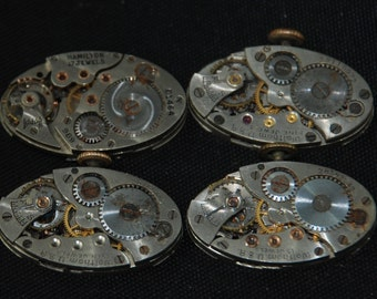 Vintage Antique Waltham Hamilton Oval Watch Movements Parts Steampunk Assemblage R33