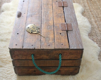 Nautical Wood & Rope Chest.  Perfect Coffee Table