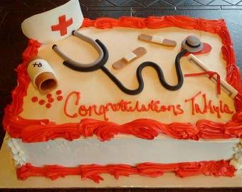 Nursing cake topper set