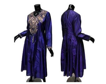 "Vintage Anarkali Corset Tunic Vintage Purple Size M-L Bust 38-40"" Gold Thread Embroidery Sari Saree Silk"