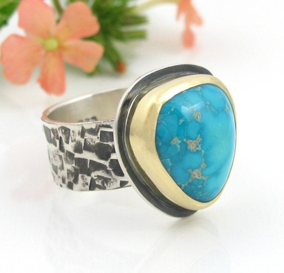 Natural Turquoise Ring - sterling silver and 18K Gold Blue Ridge Turquoise Ring - US size 8.25 - mixed metal ring - size 8 1/4 ring