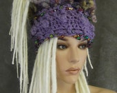 Accessory,Hair Art,Crochet,Free form,Purple,Dreadlock Band,Hair Band,Headwrap, Collar, Scarflette,women,