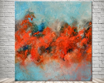 Abstract original painting, Blue Red Abstract, Red Blue Painting, Orange blue large painting, Fire painting,  water painting, free shipping
