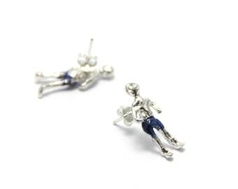 silver people earrings