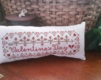 Valentine's Day Cross Stitch Pillow Complete Ready to Ship