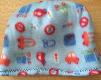 Lets Go! Car Print Polar Fleece Baby Hat 6 to 18 Months