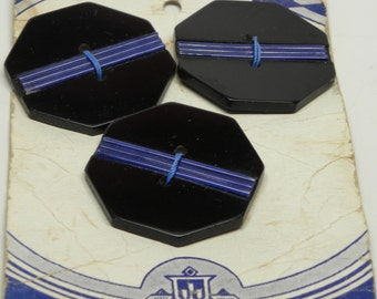 """Very Rare Set 3 Art Deco Large OME Extruded Blue CELLULOID Octagon Plastic Black Coat BUTTONS on Original Card  1 1/2"""" 38 mm"""