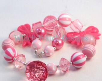 Pretty in Pink.. Chunky Light and Dark Pink Toddler Bubblegum Necklace, Crystal Pendant