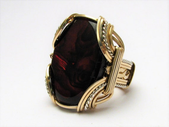Victorian Wire Wrapped Ring Two Tone Ring Sterling Silver/14kt Gold Filled Ring Red Paua Ring