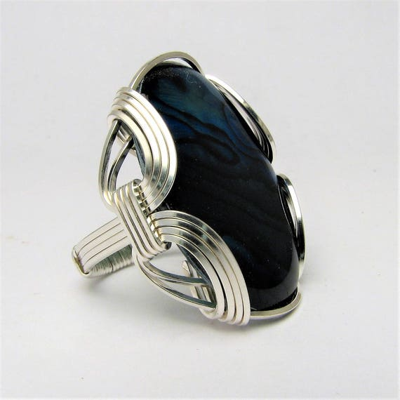 Handmade Sterling Silver Wire Wrap Blue Paua Gemstone Ring