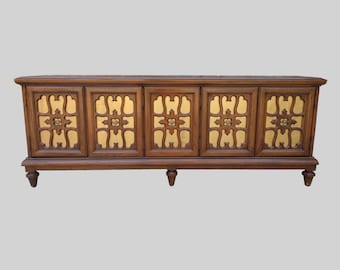 hollywood regency gilded 4 door credenza by MOUNT AIRY furniture