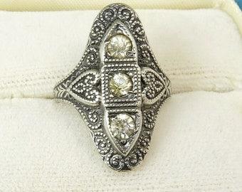 Art Deco Sterling Silver Rhinestone Ring Size 5