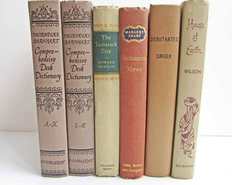 Vintage Book  Set, Brown, Tan, Beige Vintage Books, Book Stack, Old Brown Books, Library Accent, Decor Book Set, Room Decor Set