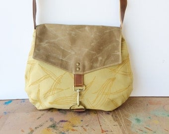 satchel • every day canvas crossbody bag • hand printed mustard canvas - pine needles - neutral - waxed canvas - brown • native
