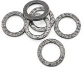 13mm TierraCast Flat Circle Charms Hammertone Textured Metal Ring Links Medium Rings - Black Oxide Gunmetal Gun Metal Links (PB40)