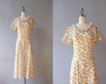 1930s Dress / Vintage 30s Dress / 1930s Sheer White Floral Cotton Gauze Dress Small Medium
