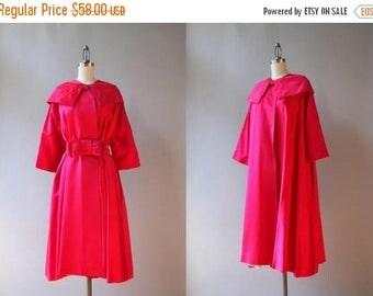 STOREWIDE SALE 1950s Satin Swing Coat / 50s Bow Belt Shawl Collar Evening Coat / 1950s Magenta Satin Jacket