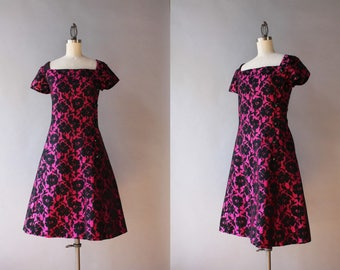 Vintage 60s Dress / 1960s Nat Kaplan Dress / 1960s Berry and Black Floral Cocktail Dress XS small
