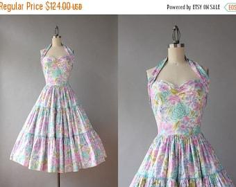 STOREWIDE SALE 1950s Dress / Vintage 50s Dress / 1940s 1950s Pastel Floral Halter Dress small S