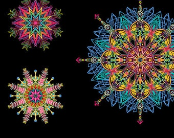 Paula Nadelstern Kismet Mandalas Multi Colored Fabric Panel