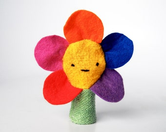 Eco Friendly Finger Puppet Rainbow Spring Flower Nature Toy