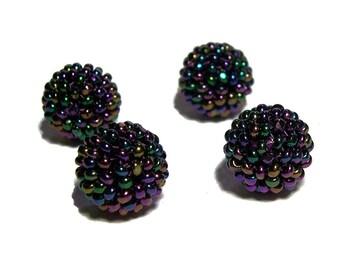 Black ABx2 beaded beads handmade 12mm beads 4pcs