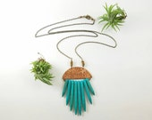 STONE TASSEL - Copper crescent moon with Turquoise stone spikes on long chain. Boho style Lauering necklace party jewelry New Years