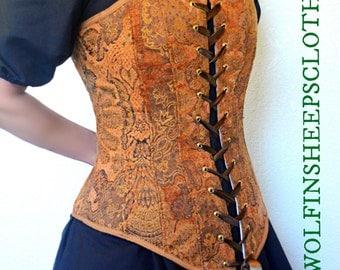 Corset Bodice Steel Boned Renaissance Costume
