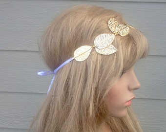 Gold Metal Leaf Headband-Hairpiece-Custom made-Handcrafted-Handmade-CRBoggs Original Design
