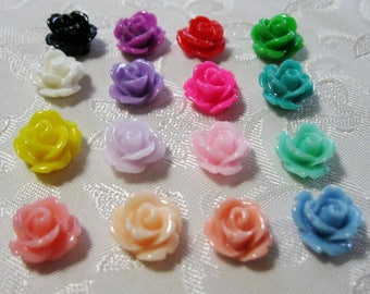 Drilled Resin Rose Flower Beads With Hole Small You Choose Your Colors 10mm 912D