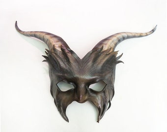 Leather Goat Mask in grey with black and brown and white with detail etched face lightweight and easy to wear with heavy elastic straps