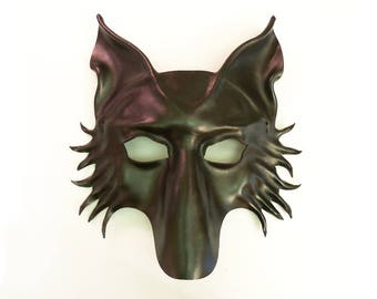 Black Leather Wolf Mask fox dog Shepherd  very lightweight yet sturdy