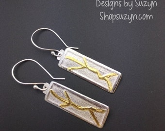 ON SALE NEW Design Brushed Silver and 22k Gold Rectangle Dangle Earrings