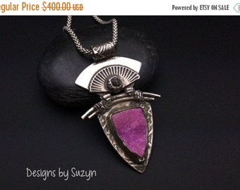 ON SALE Transcendence - Sterling Silver Rough Black Diamond and Pink Cobalto Calcite