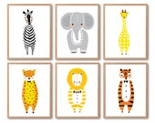 Woodland animals, Baby nursery decor, Lion, Zebra, Tiger, Leopard, Elephant, Giraffe prints, Print set, Animal Illustration, Kids room decor