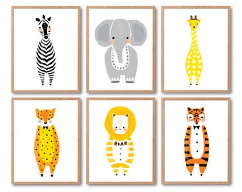 Woodland animals, Baby nursery decor, Lion, Zebra, Tiger, Leopard, Elephant, Giraffe prints, Print set, Animal Illustration, Kids room decor