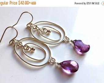15% OFF sale, Mystic Violet Quartz Festivale Chandeliers, gemstone hoop chandelier earrings, purple gemstone earrings, gift idea